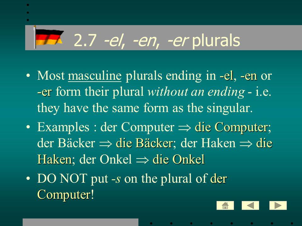 2.7 -el, -en, -er plurals