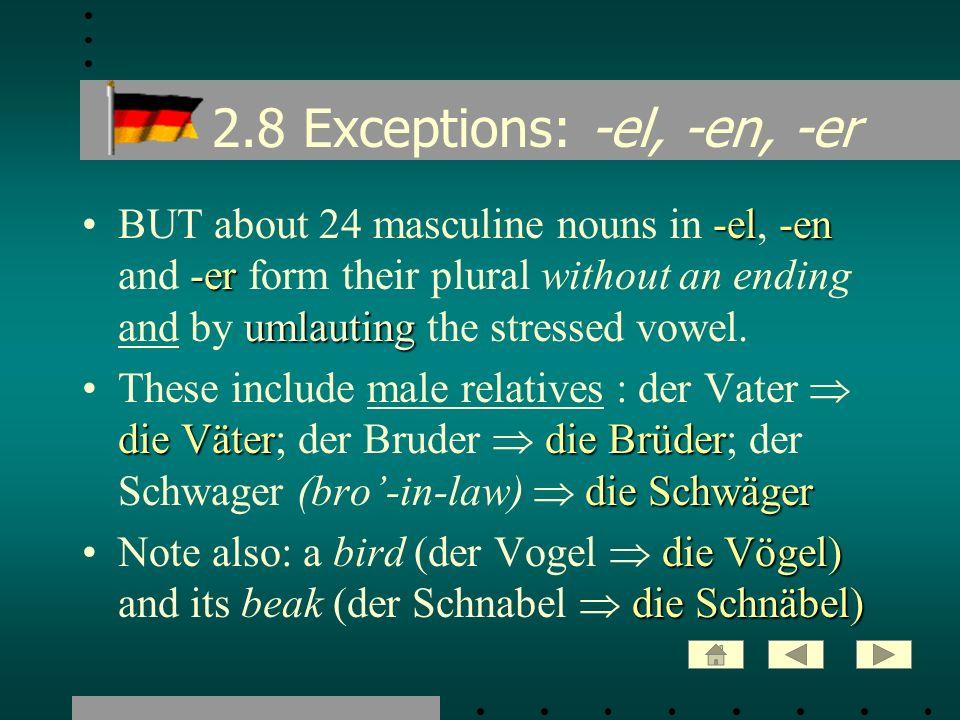 2.8 Exceptions: -el, -en, -er