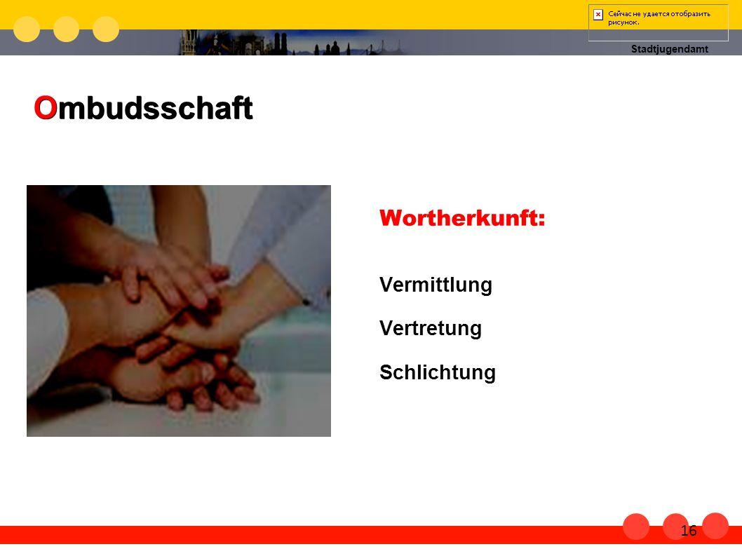 Ombudsschaft Wortherkunft: Vermittlung Vertretung Schlichtung 16 16