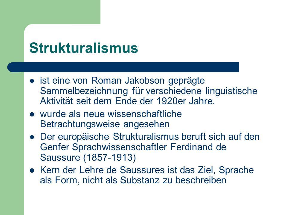 Strukturalismus ist eine von Roman Jakobson geprägte Sammelbezeichnung für verschiedene linguistische Aktivität seit dem Ende der 1920er Jahre.