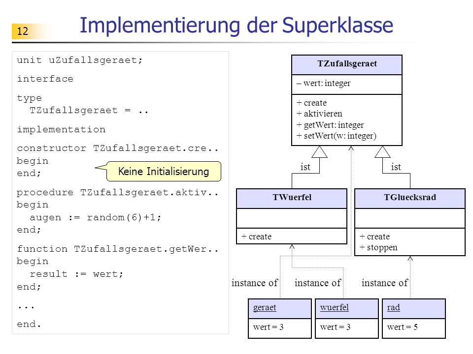 Implementierung der Superklasse