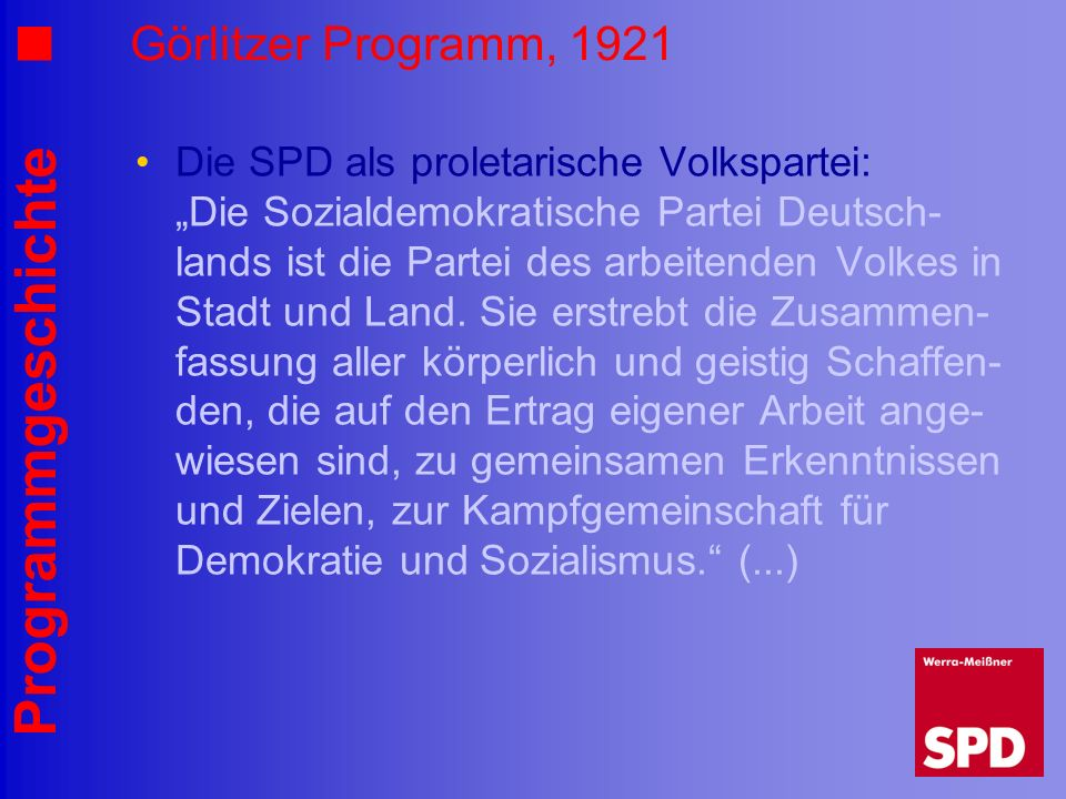 Görlitzer Programm, 1921