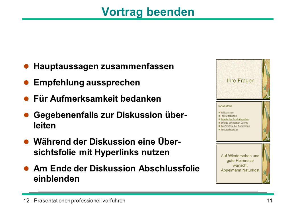 Vortrag beenden Hauptaussagen zusammenfassen Empfehlung aussprechen