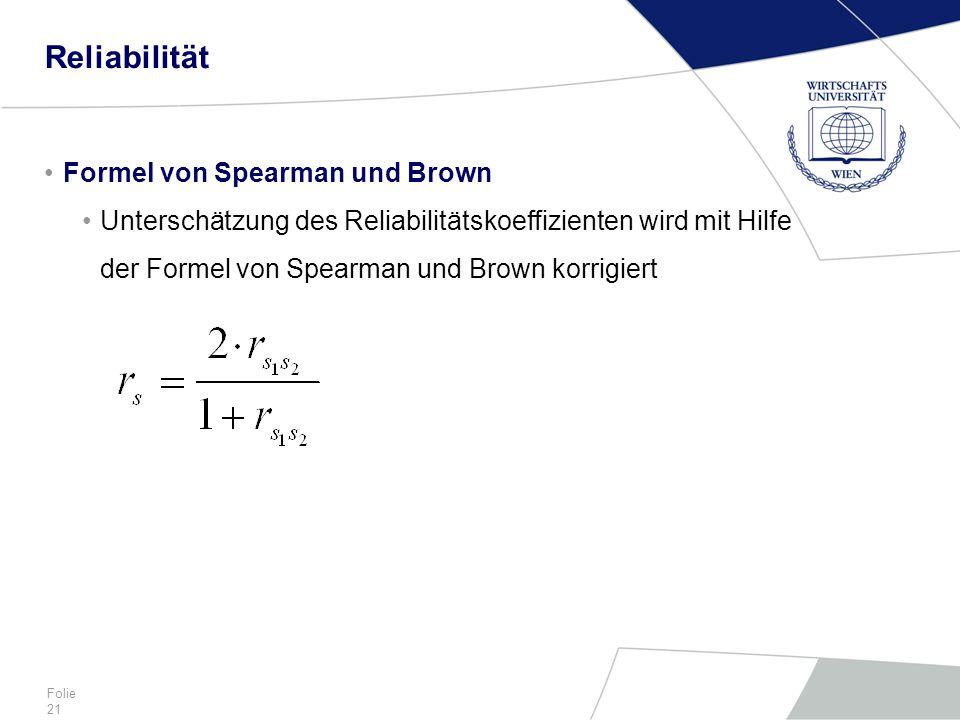Reliabilität Formel von Spearman und Brown