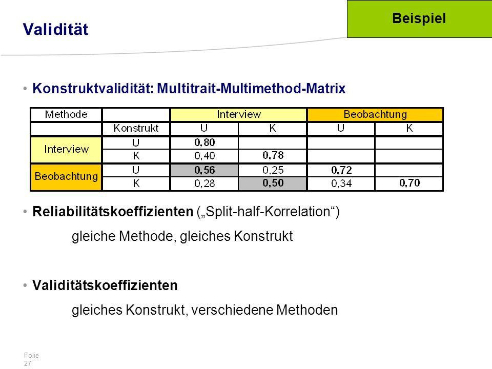 Validität Beispiel Konstruktvalidität: Multitrait-Multimethod-Matrix