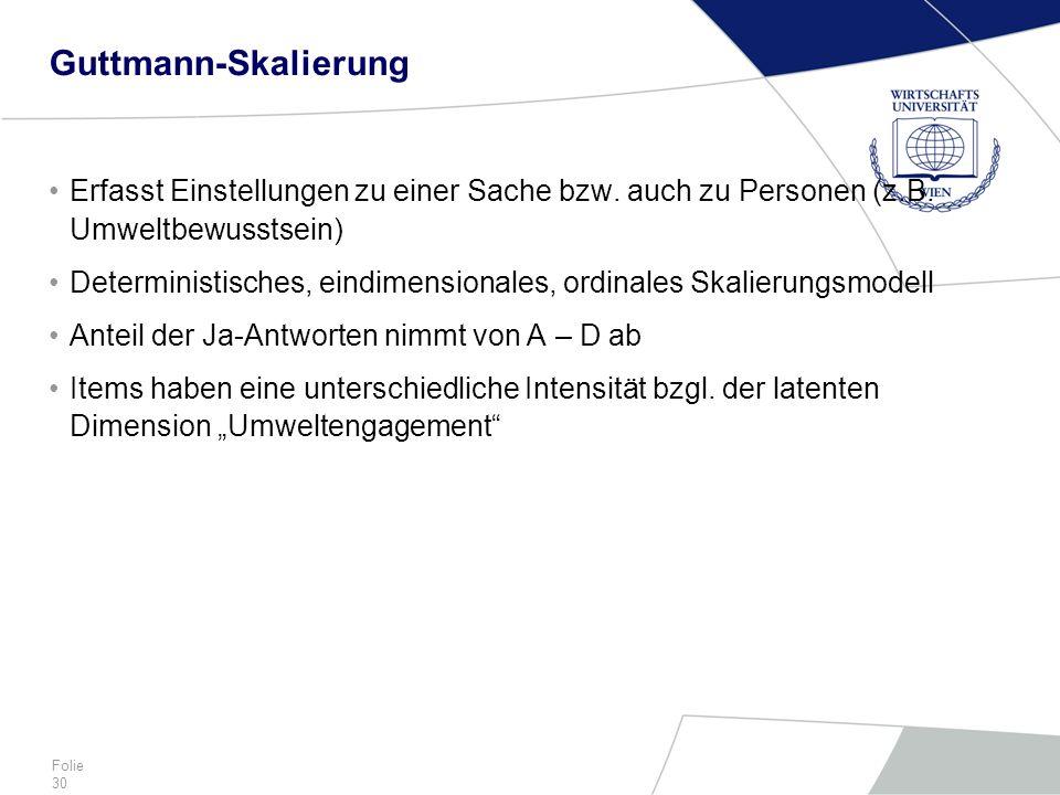 Guttmann-Skalierung Erfasst Einstellungen zu einer Sache bzw. auch zu Personen (z.B. Umweltbewusstsein)