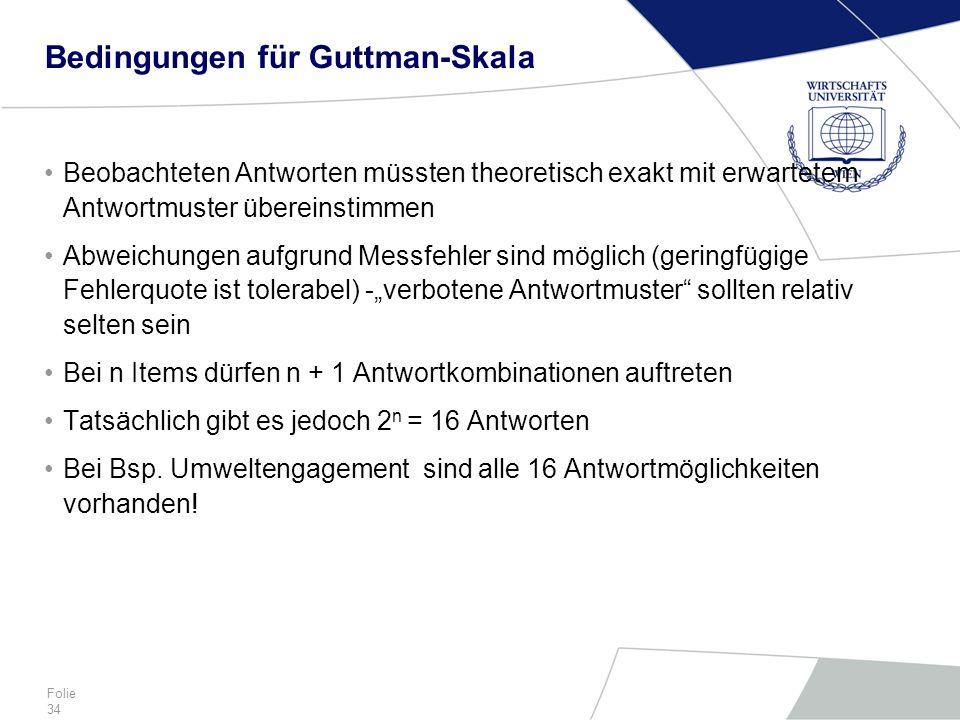 Bedingungen für Guttman-Skala