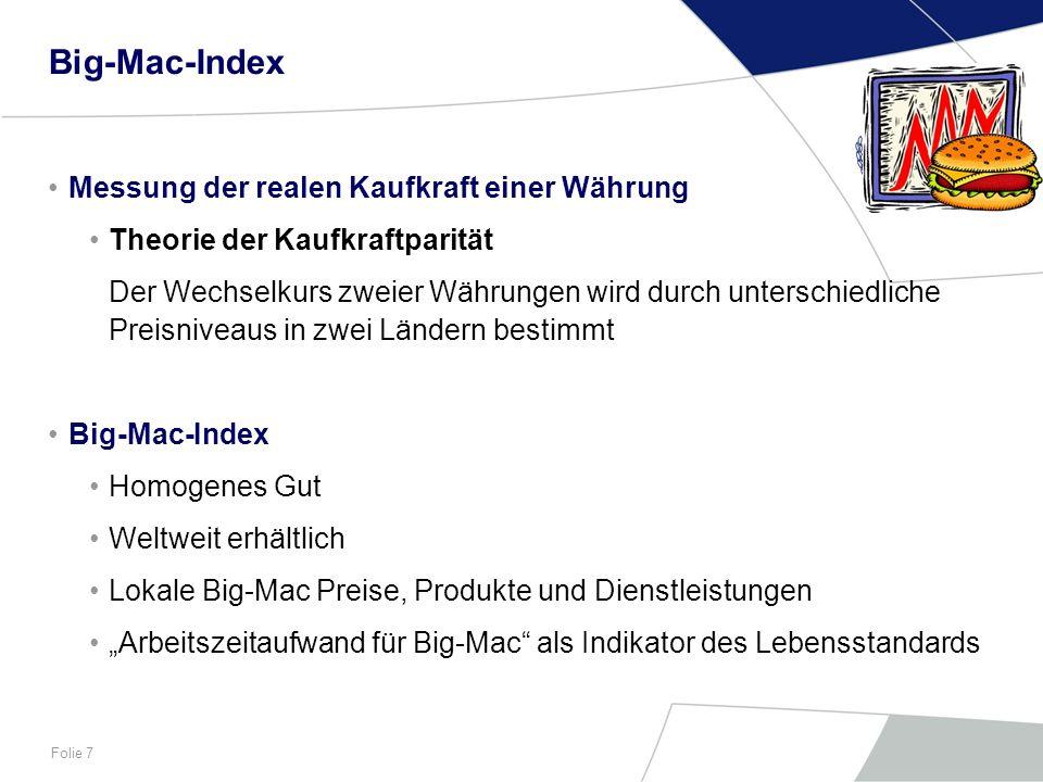 Big-Mac-Index Messung der realen Kaufkraft einer Währung