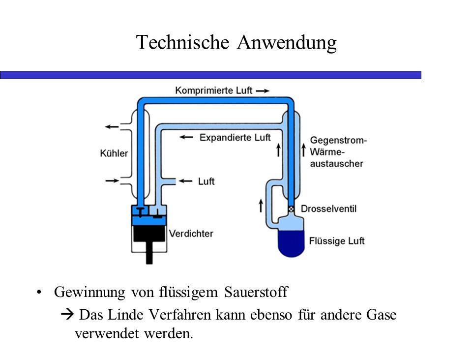Technische Anwendung Gewinnung von flüssigem Sauerstoff