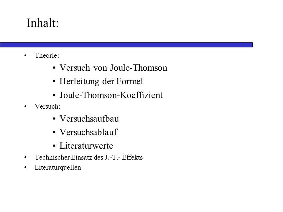 Inhalt: Versuch von Joule-Thomson Herleitung der Formel