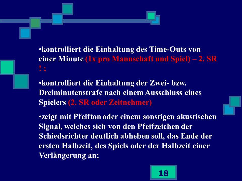 kontrolliert die Einhaltung des Time-Outs von einer Minute (1x pro Mannschaft und Spiel) – 2. SR ! ;