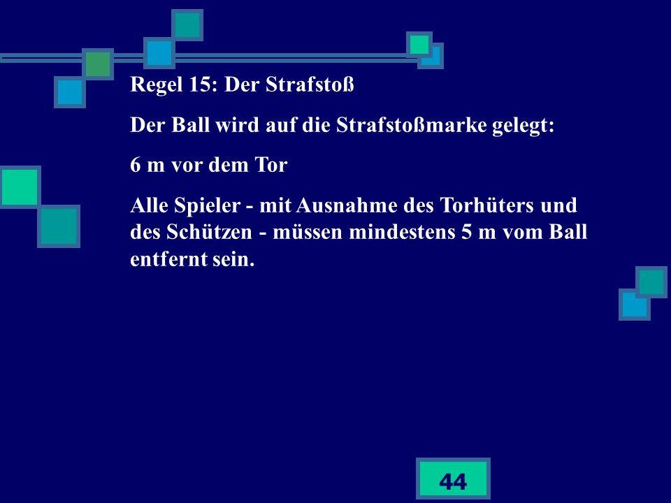 Regel 15: Der StrafstoßDer Ball wird auf die Strafstoßmarke gelegt: 6 m vor dem Tor.