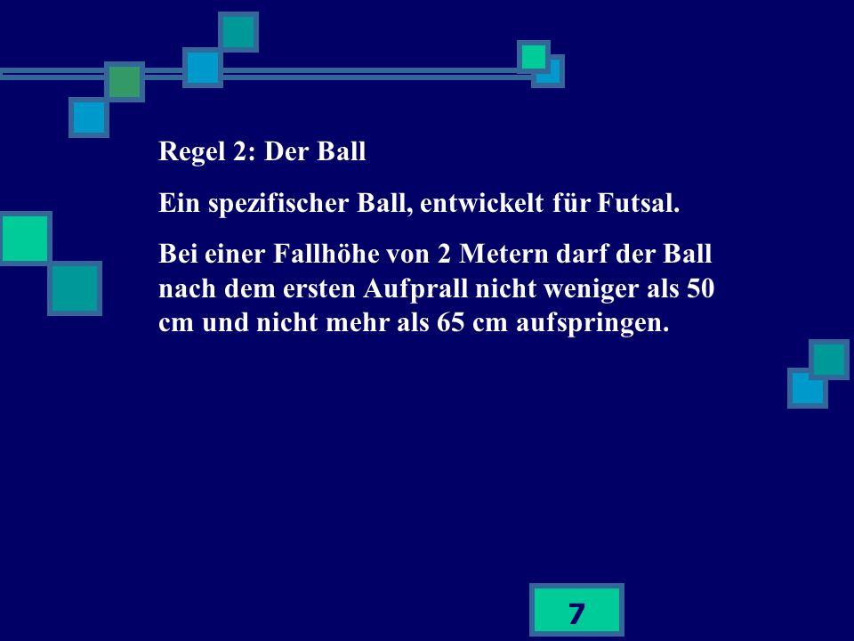 Regel 2: Der Ball Ein spezifischer Ball, entwickelt für Futsal.