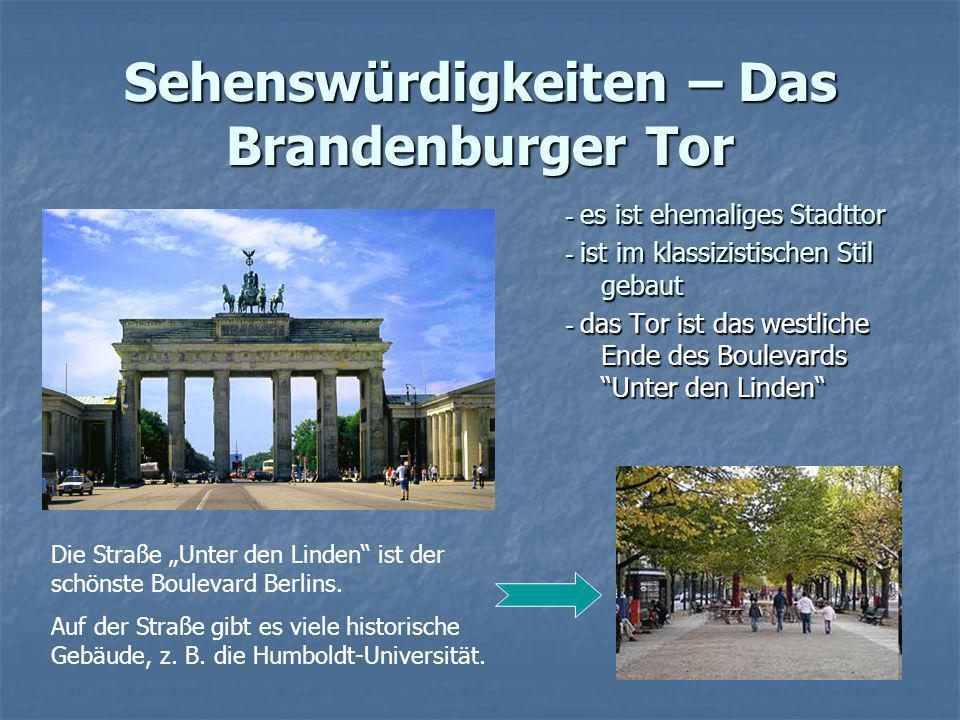 Sehenswürdigkeiten – Das Brandenburger Tor