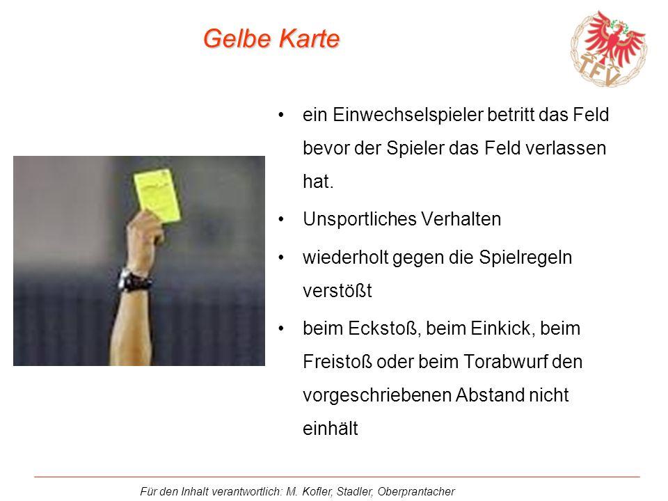 Gelbe Karte ein Einwechselspieler betritt das Feld bevor der Spieler das Feld verlassen hat. Unsportliches Verhalten.