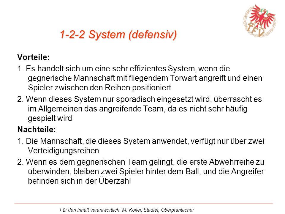 1-2-2 System (defensiv) Vorteile: