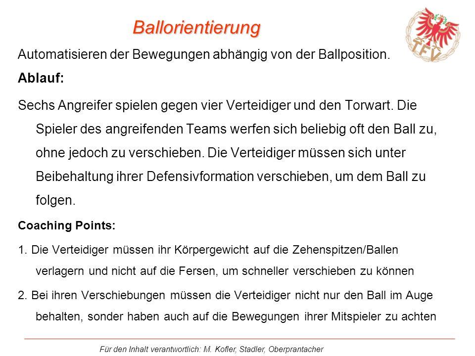 Ballorientierung Automatisieren der Bewegungen abhängig von der Ballposition. Ablauf: