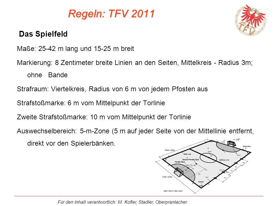 Regeln: TFV 2011 Das Spielfeld Maße: 25-42 m lang und 15-25 m breit