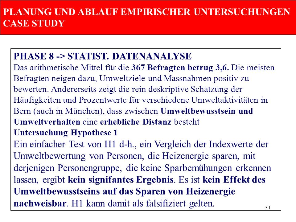 PLANUNG UND ABLAUF EMPIRISCHER UNTERSUCHUNGEN CASE STUDY