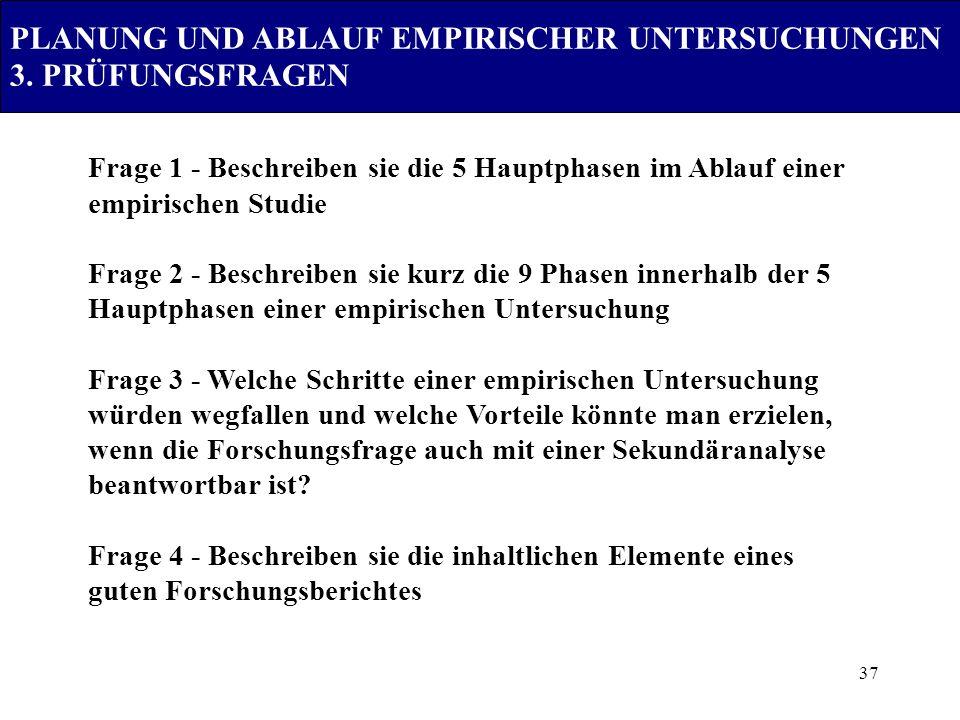 PLANUNG UND ABLAUF EMPIRISCHER UNTERSUCHUNGEN 3. PRÜFUNGSFRAGEN