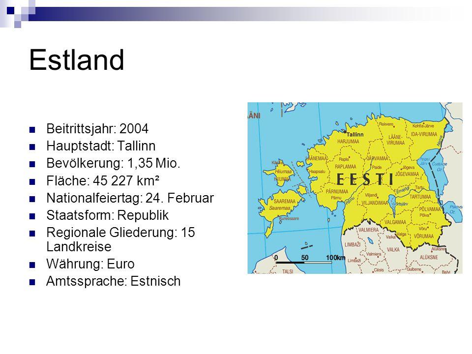 Estland Beitrittsjahr: 2004 Hauptstadt: Tallinn Bevölkerung: 1,35 Mio.
