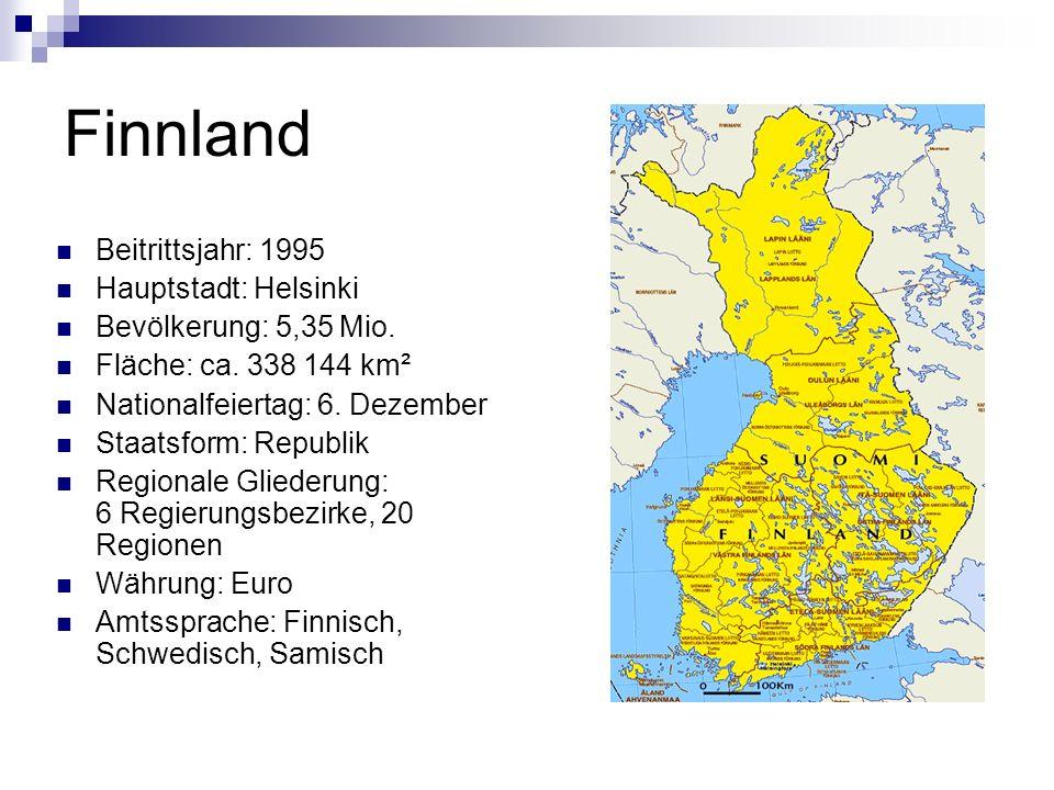 Finnland Beitrittsjahr: 1995 Hauptstadt: Helsinki
