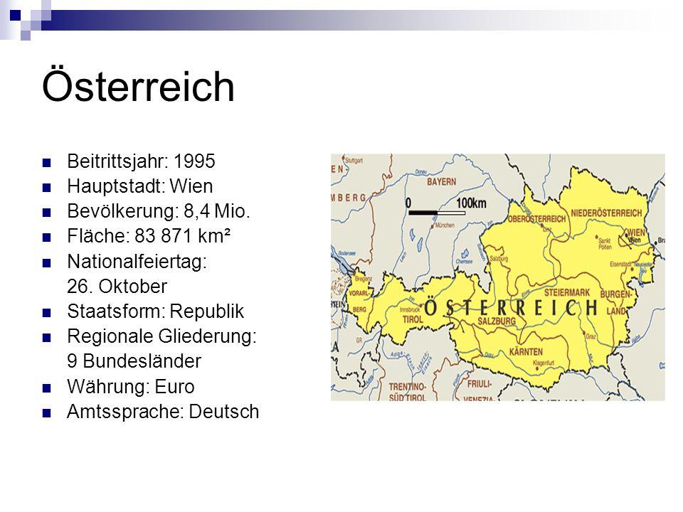 Österreich Beitrittsjahr: 1995 Hauptstadt: Wien Bevölkerung: 8,4 Mio.