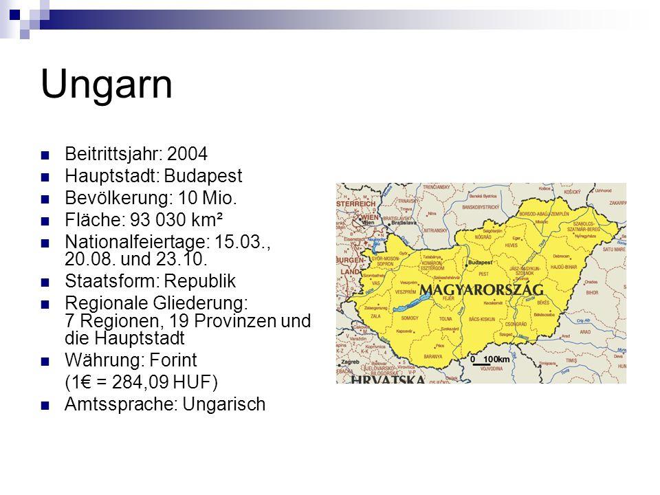 Ungarn Beitrittsjahr: 2004 Hauptstadt: Budapest Bevölkerung: 10 Mio.