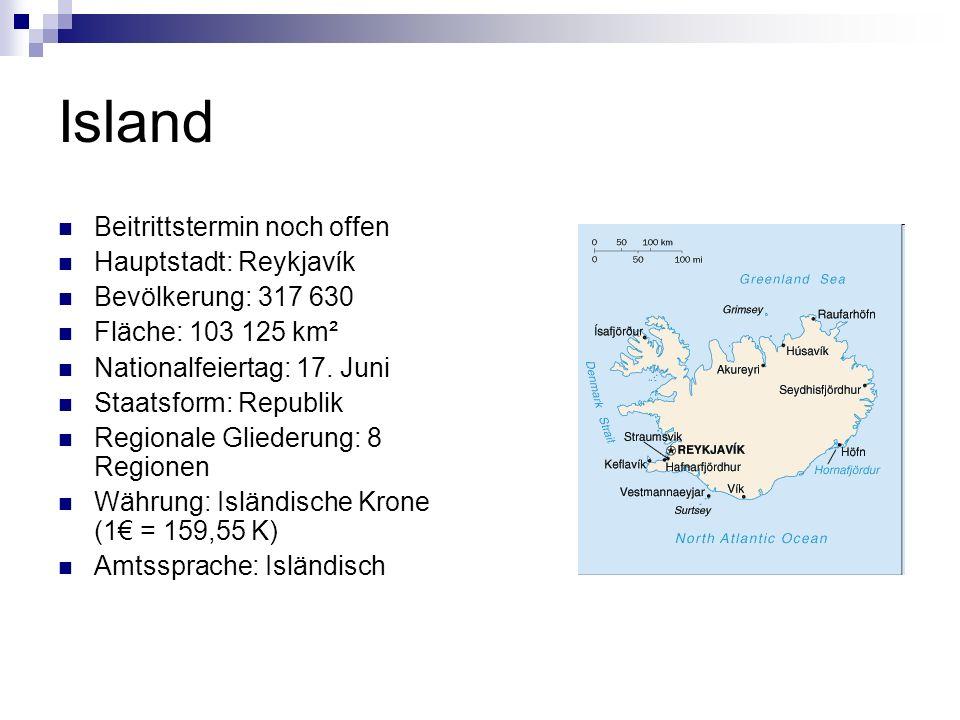 Island Beitrittstermin noch offen Hauptstadt: Reykjavík