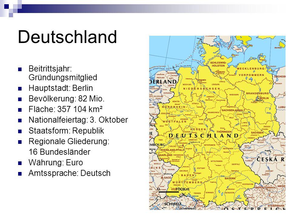 Deutschland Beitrittsjahr: Gründungsmitglied Hauptstadt: Berlin