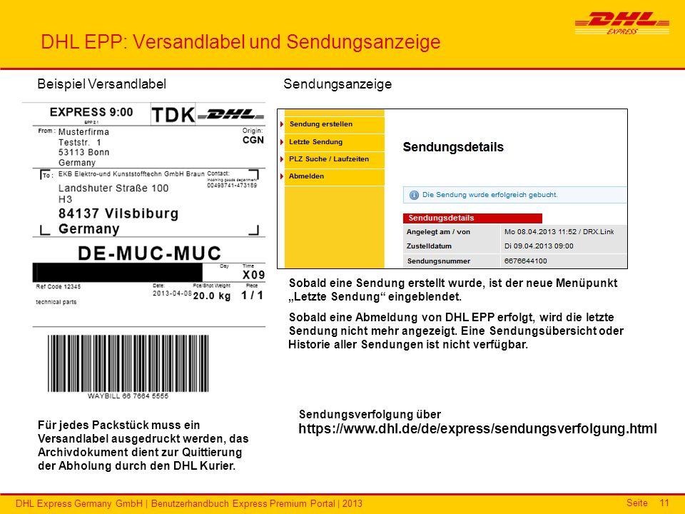 DHL EPP: Versandlabel und Sendungsanzeige