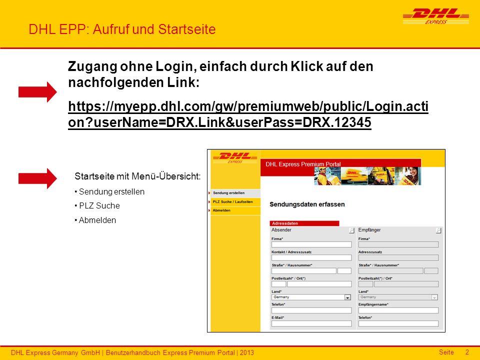 DHL EPP: Aufruf und Startseite