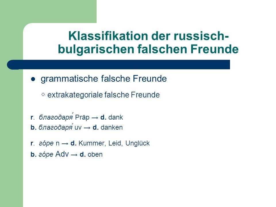 Klassifikation der russisch-bulgarischen falschen Freunde