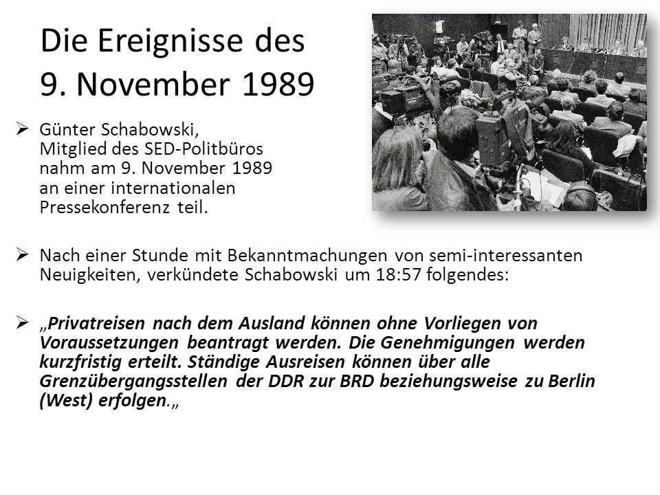 Die Ereignisse des 9. November 1989