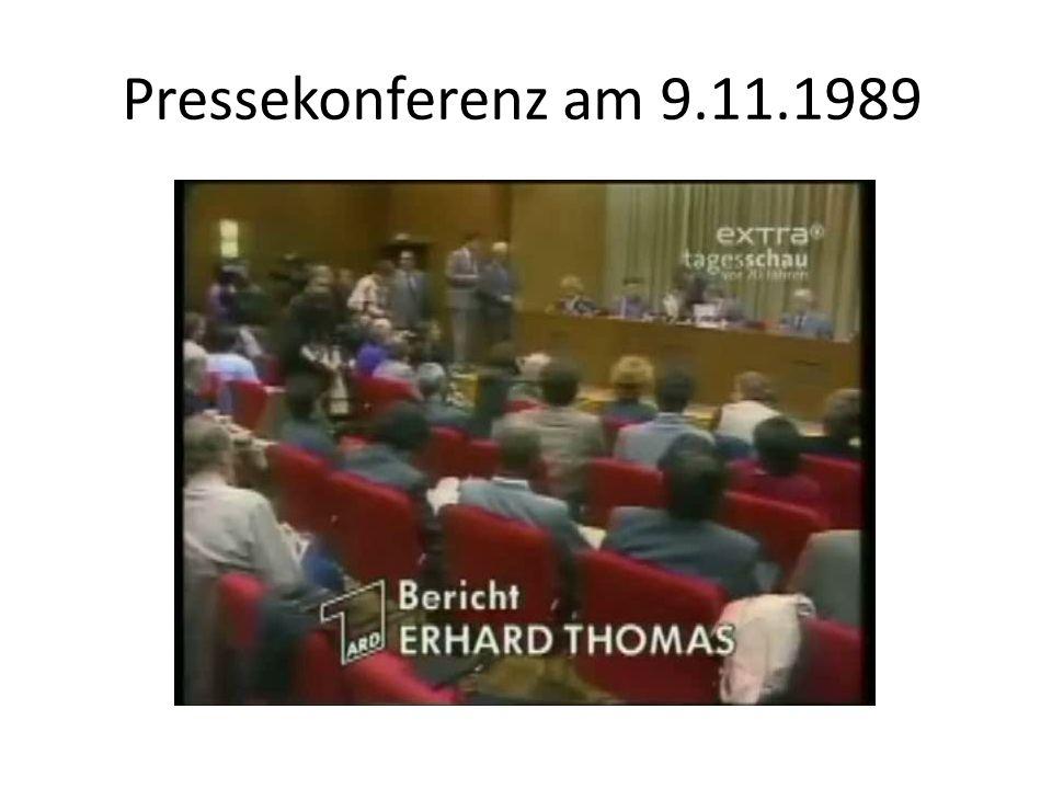 Pressekonferenz am 9.11.1989