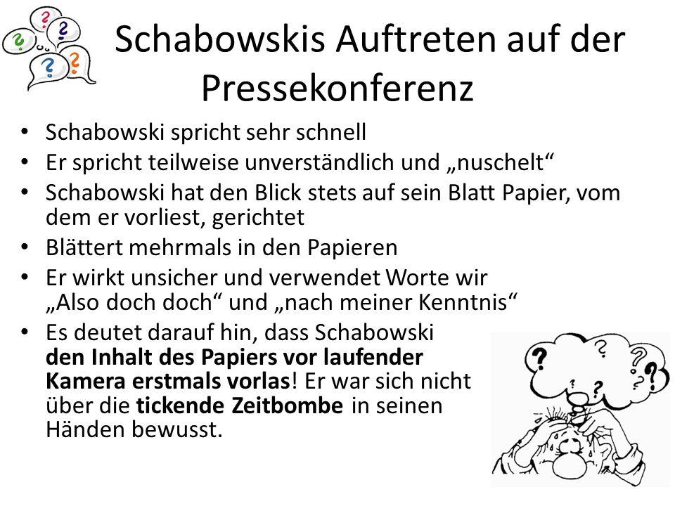 Schabowskis Auftreten auf der Pressekonferenz