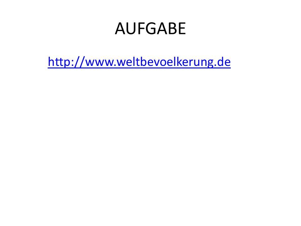AUFGABE http://www.weltbevoelkerung.de Weitere Uhr mit Past + Future: