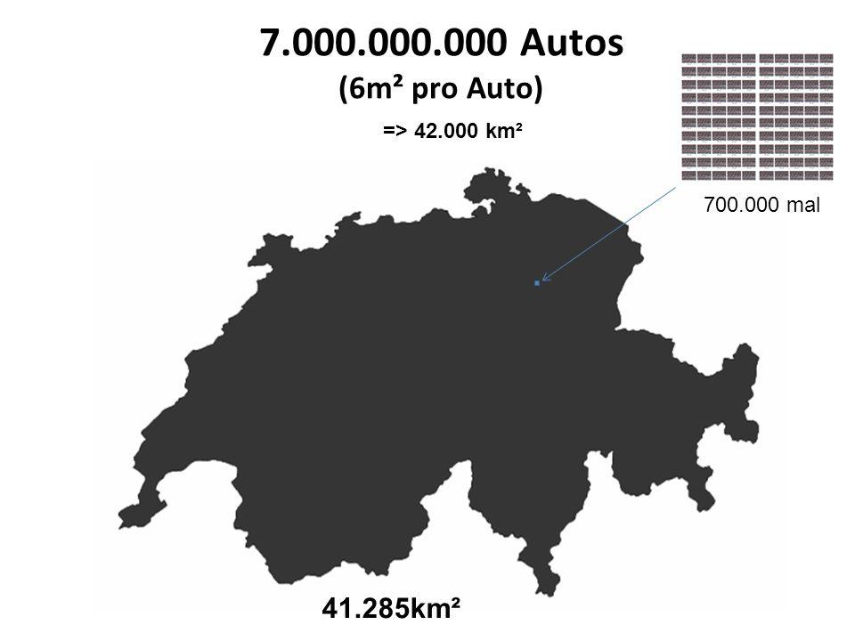 7.000.000.000 Autos (6m² pro Auto) 41.285km² => 42.000 km²