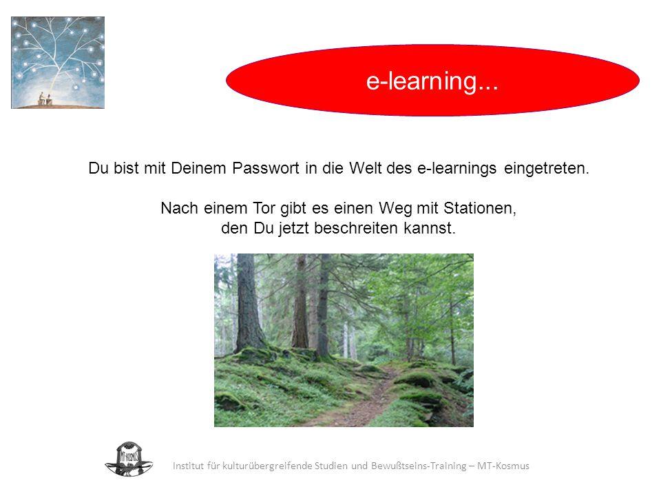 28.03.2017 e-learning... Du bist mit Deinem Passwort in die Welt des e-learnings eingetreten. Nach einem Tor gibt es einen Weg mit Stationen,
