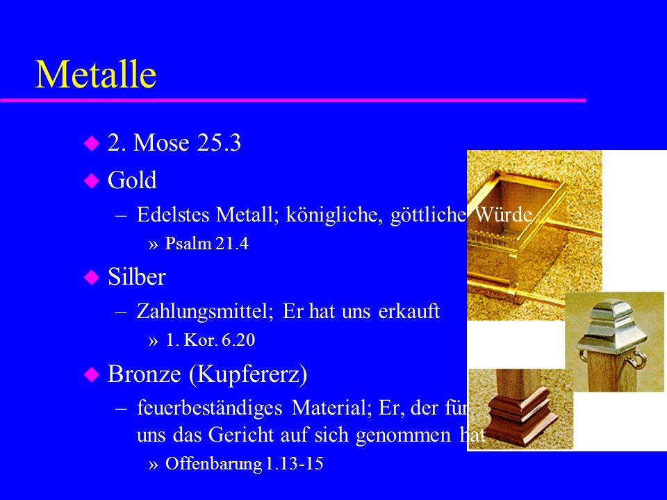 Metalle 2. Mose 25.3 Gold Silber Bronze (Kupfererz)