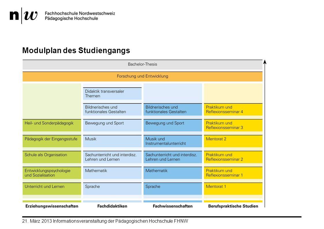 Modulplan des Studiengangs