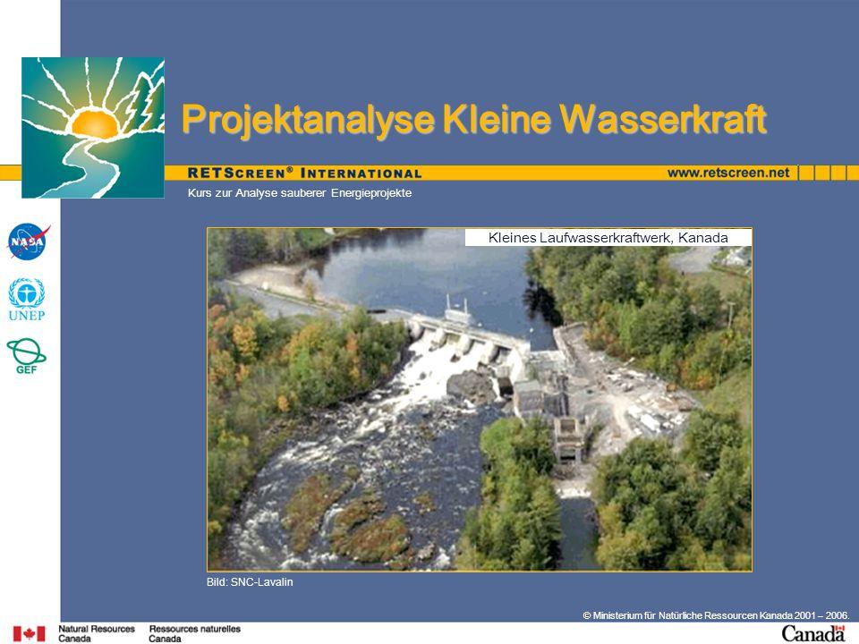 Kleines Laufwasserkraftwerk, Kanada