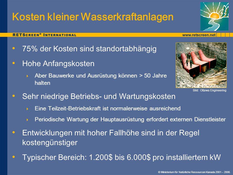 Kosten kleiner Wasserkraftanlagen