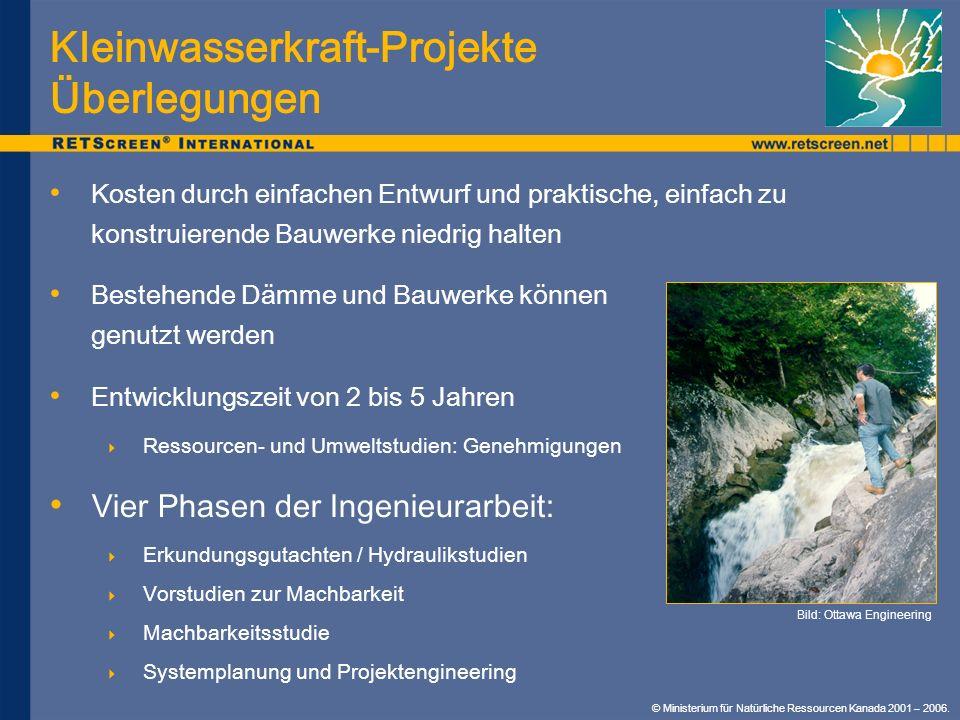 Kleinwasserkraft-Projekte Überlegungen