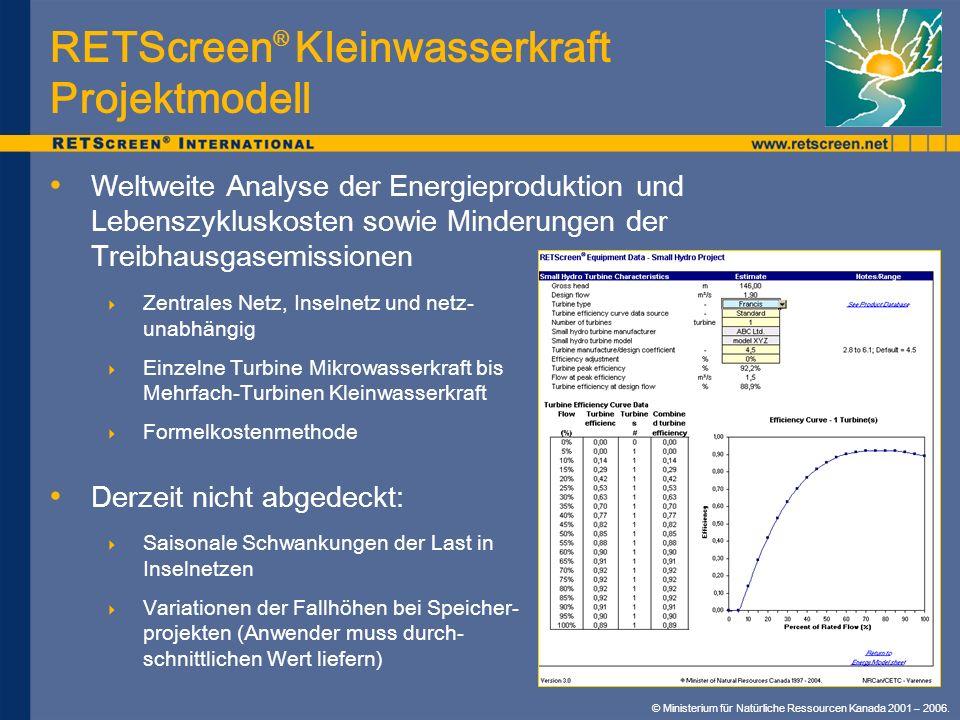 RETScreen® Kleinwasserkraft Projektmodell