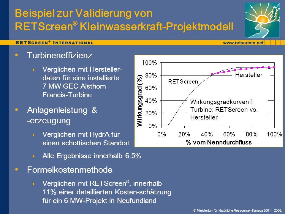 Beispiel zur Validierung von RETScreen® Kleinwasserkraft-Projektmodell