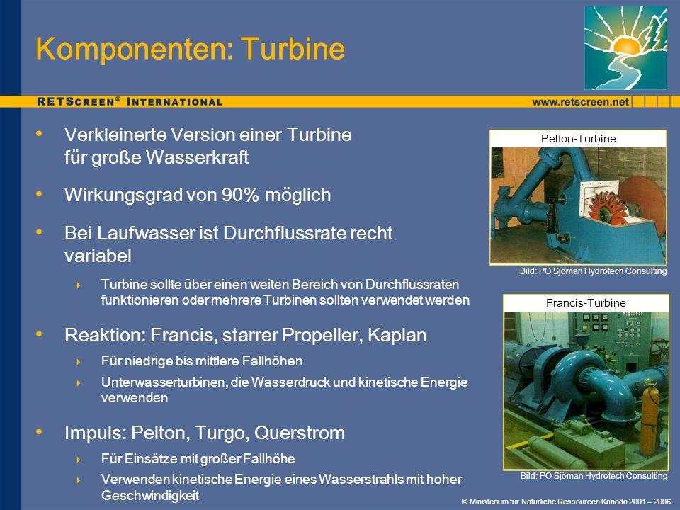 Komponenten: TurbineVerkleinerte Version einer Turbine für große Wasserkraft. Wirkungsgrad von 90% möglich.