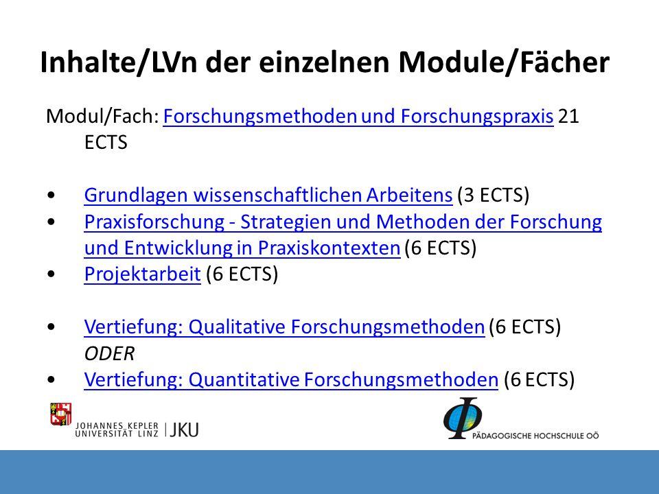 Inhalte/LVn der einzelnen Module/Fächer