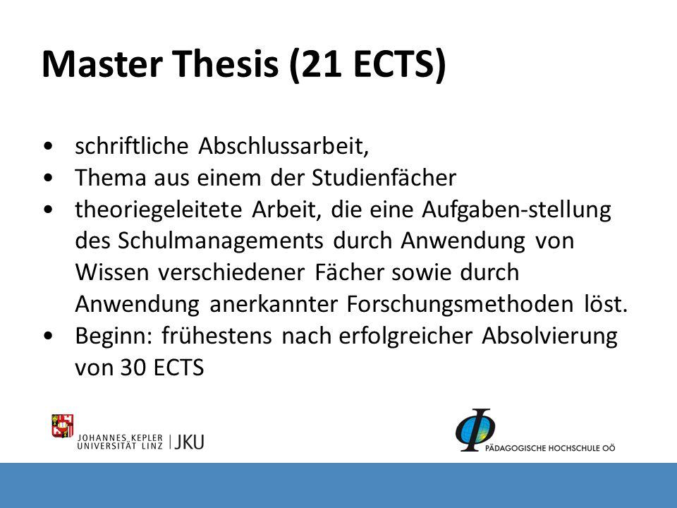 Master Thesis (21 ECTS) schriftliche Abschlussarbeit,