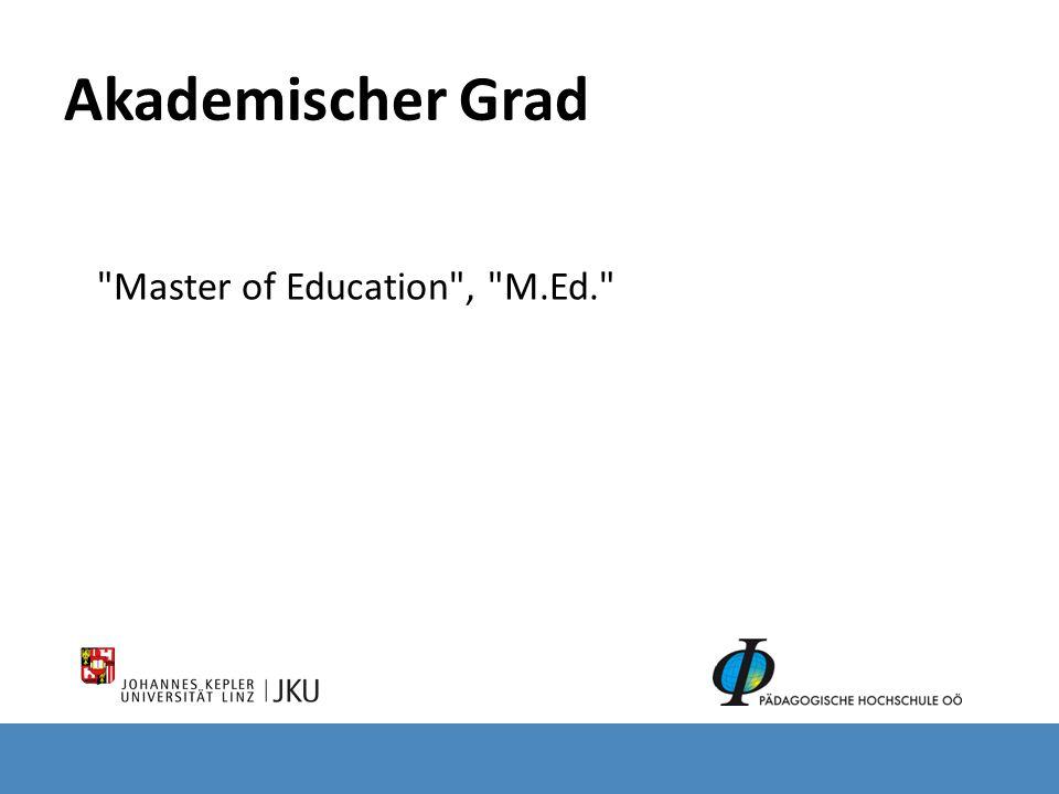 Master of Education , M.Ed.
